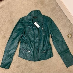 Ann Taylor Teal Blue Fitted Leather Jacket XS NWT